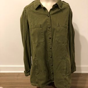 Corduroy Olive Green Long Sleeve Top